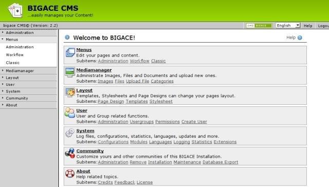 Bigace CMS Admin Demo