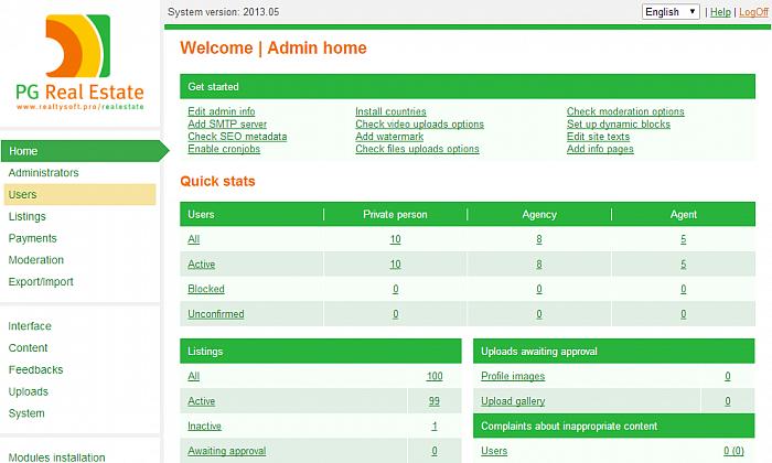 Pg real Estate Admin Demo Dashboard