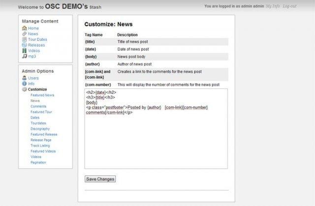 Stash CMS Admin Interface