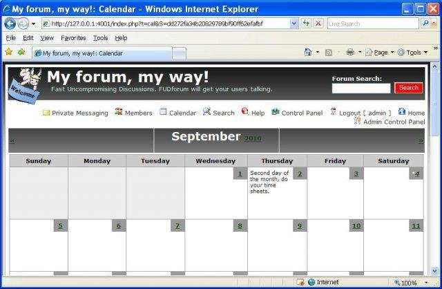 FUDforum Calendar