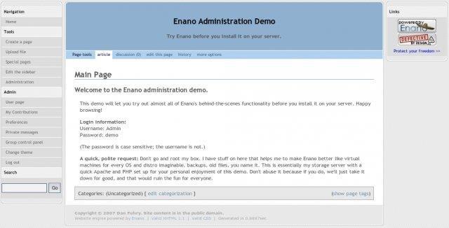 Enano CMS Admin Demo