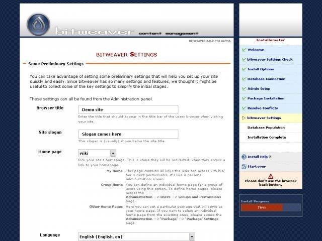 Bitweaver CMS Admin Demo
