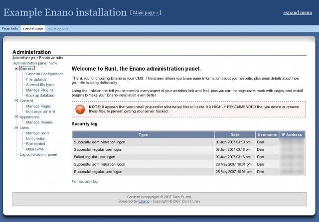 Enano CMS Demo Installation