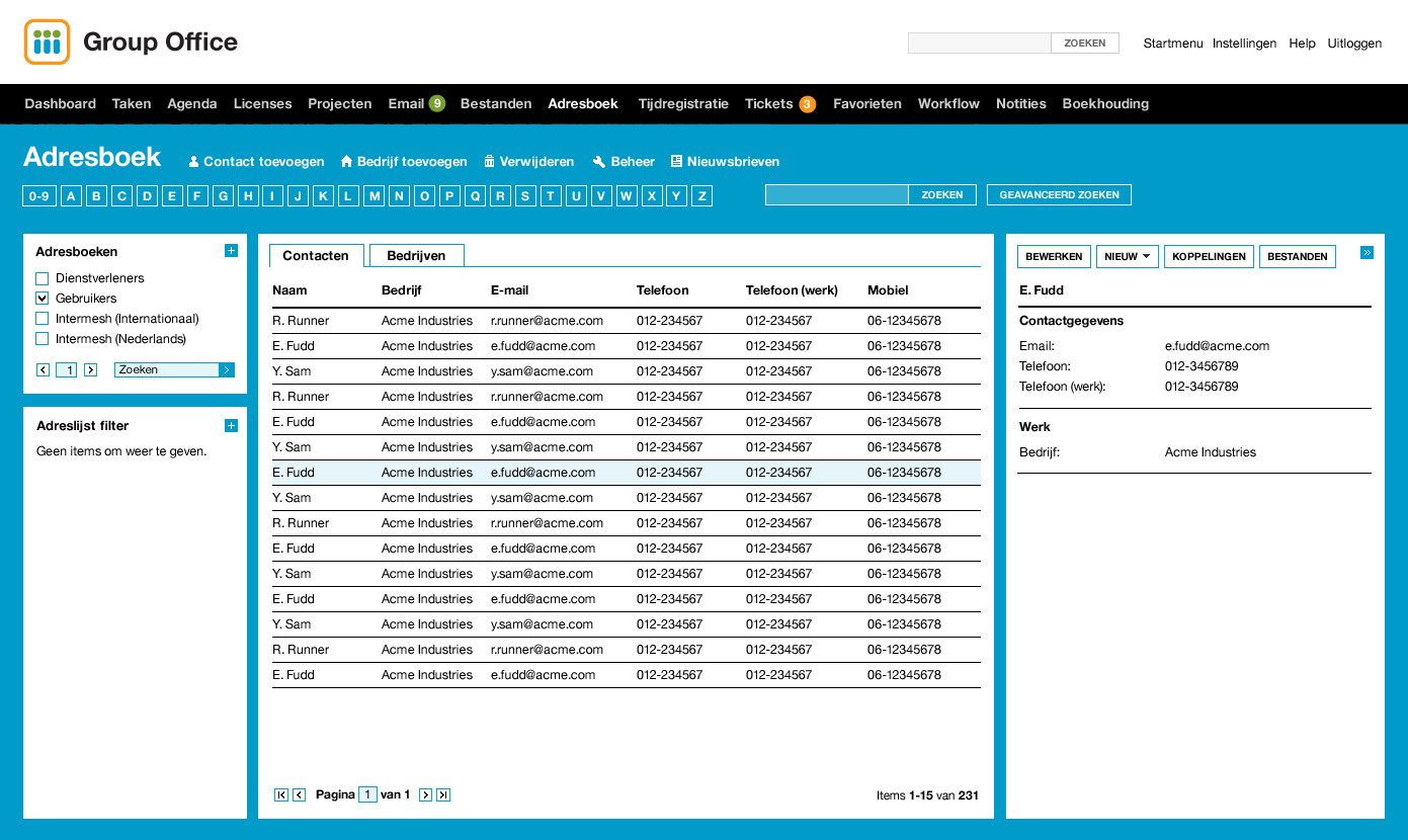 Group Office Features - Addressbook preview