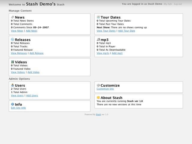 Stash CMS Admin Features