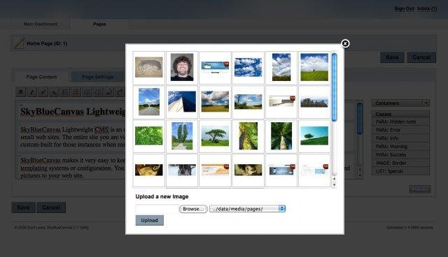 SkyBlueCanvas CMS Image Manager
