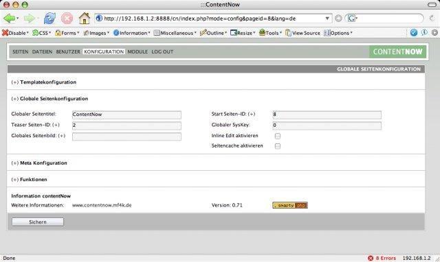 contentNow Template Configuration