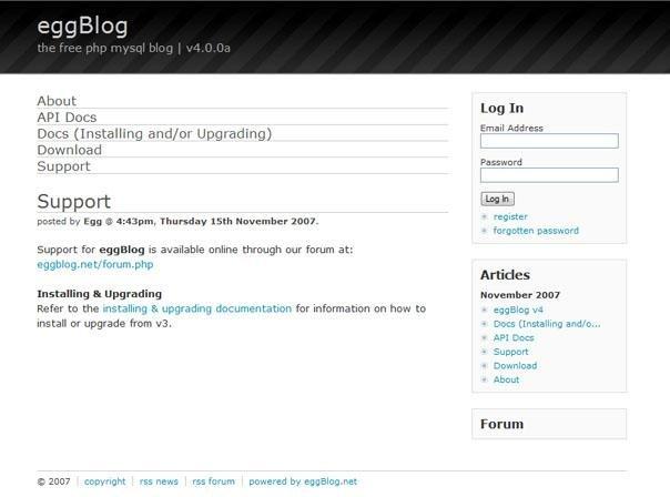 EggBlog Demo Website