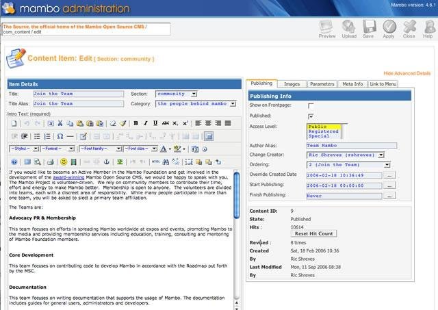 Mambo CMS Admin Features - Content Editor