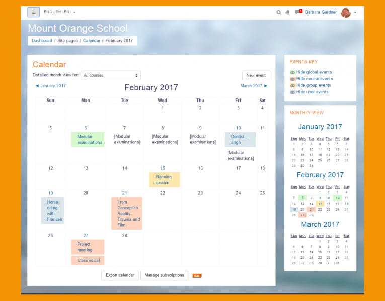 Moodle Features - Calendar