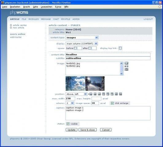 phpwcms Article Management
