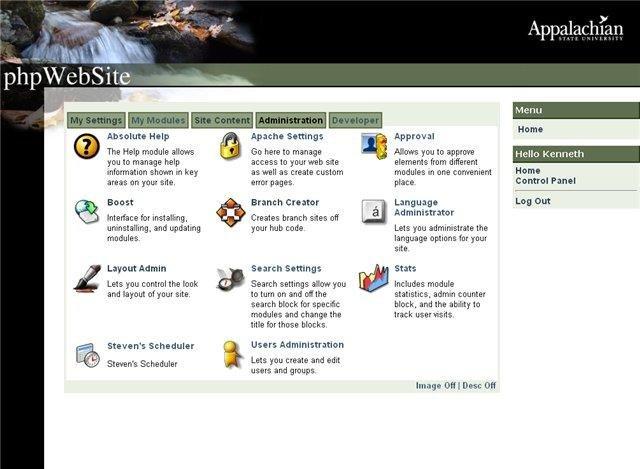 phpWebSite Admin Interface