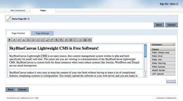 SkyBlueCanvas CMS Editor