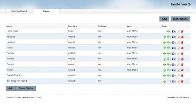 SkyBlueCanvas CMS Pages