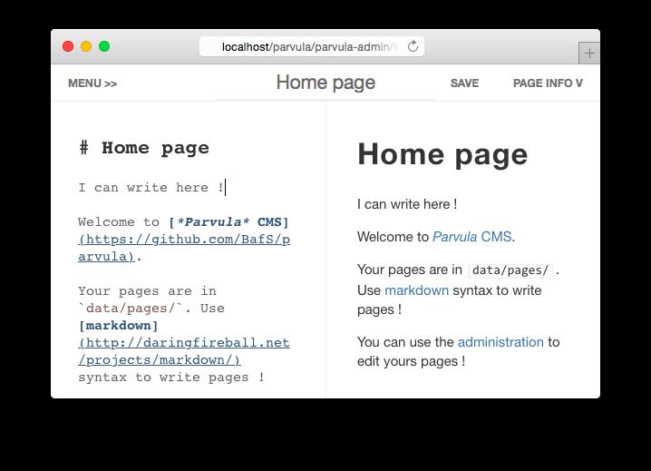 Parvula CMS Demo - Admin Interface