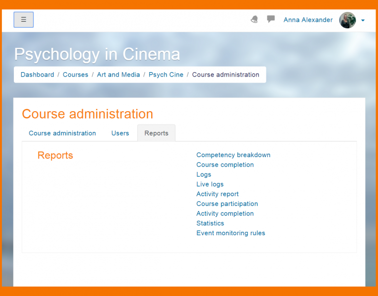 Moodle Features - Reports