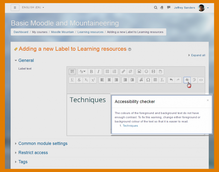 Moodle Features - Editor