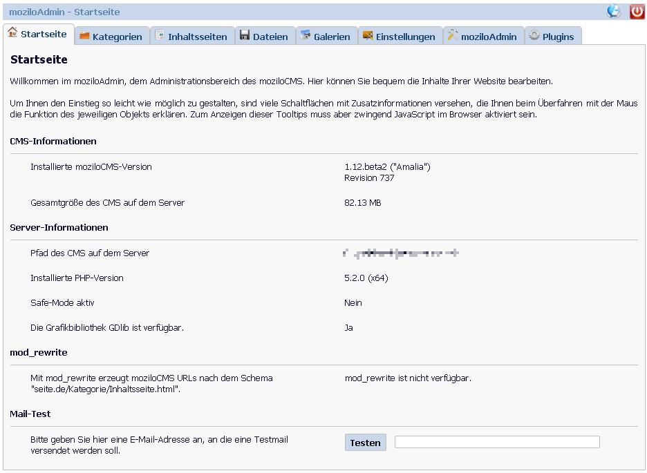 MoziloCMS Admin Dashboard