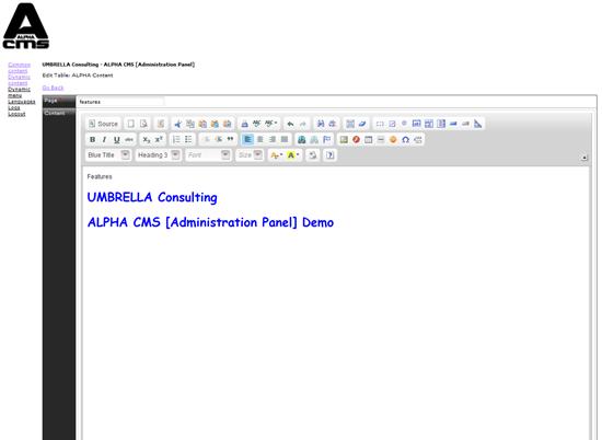 Alpha CMS Admin Demo