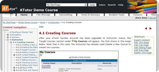 ATutor Admin Demo - Create Course