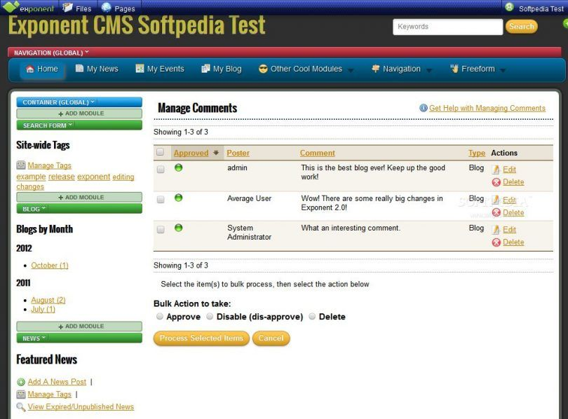 Exponent CMS Admin Features