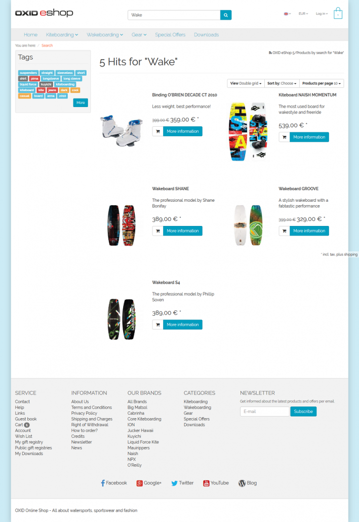 OXID eShop Demo - Products View