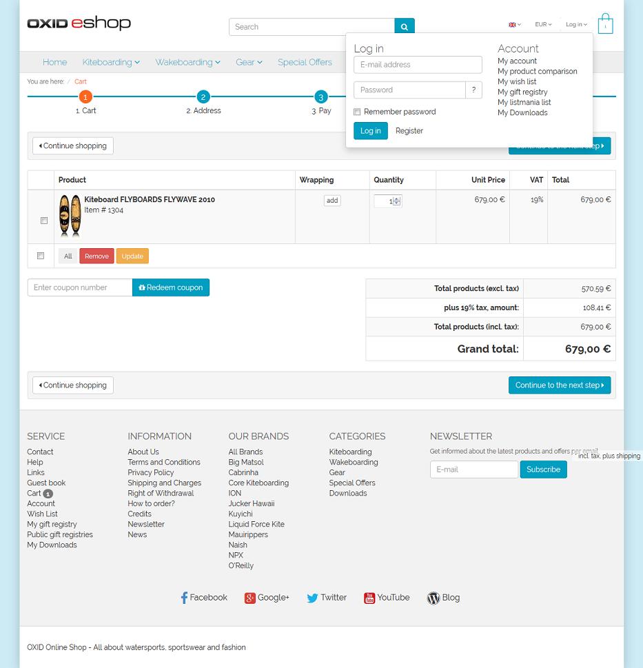 OXID eShop Demo - My Account