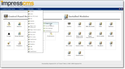 ImpressCMS Admin Dashboard