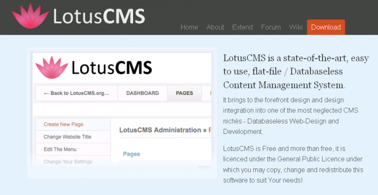 Lotus CMS Admin Features