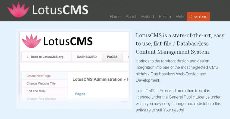 Lotus CMS Admin Features