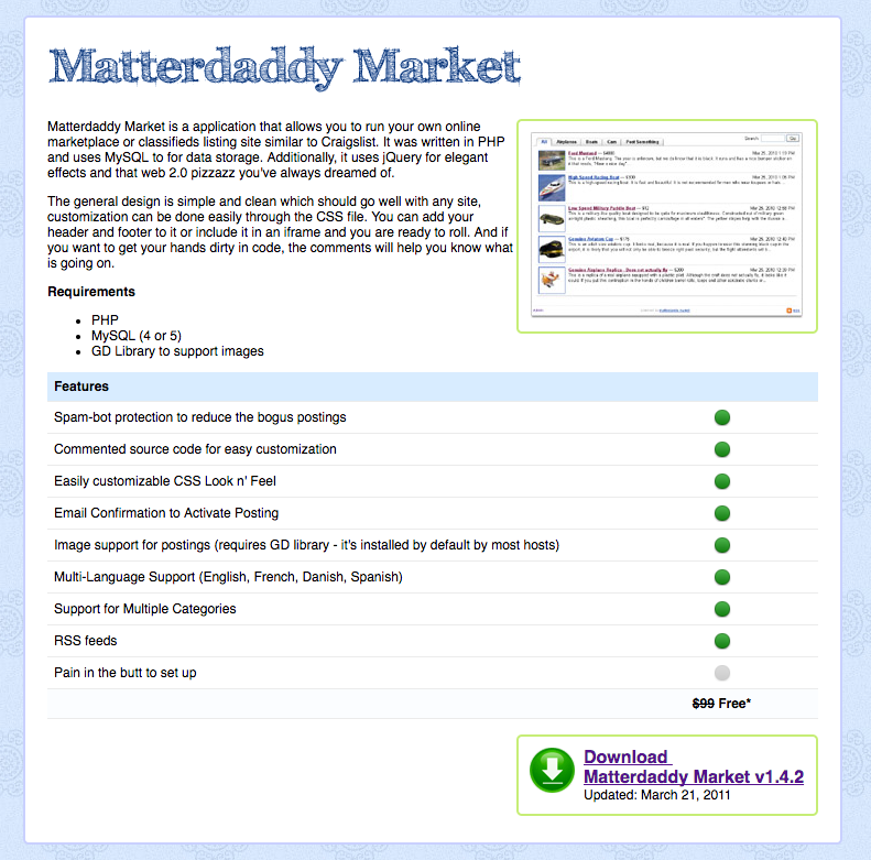 Matterdaddy Market demo preview