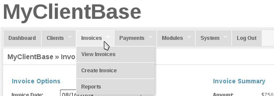 MyClientBase Admin Features