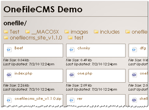 OneFileCMS Directory Listing