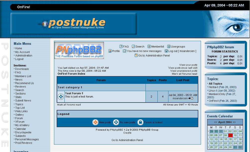 Postnuke Admin Demo