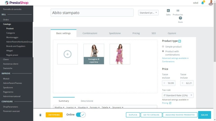 Prestashop 1.7 Admin Interface