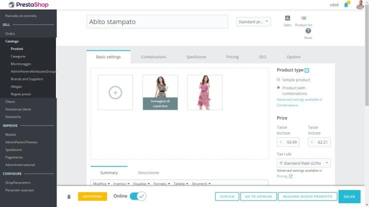 Prestashop 1.7 Admin Interface