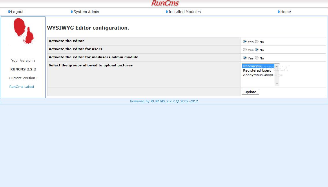 RunCMS Admin - Editor Settings