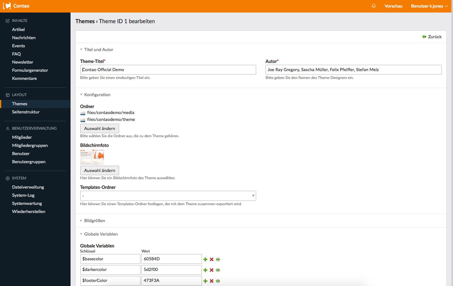 Contao CMS Admin Theme Customization