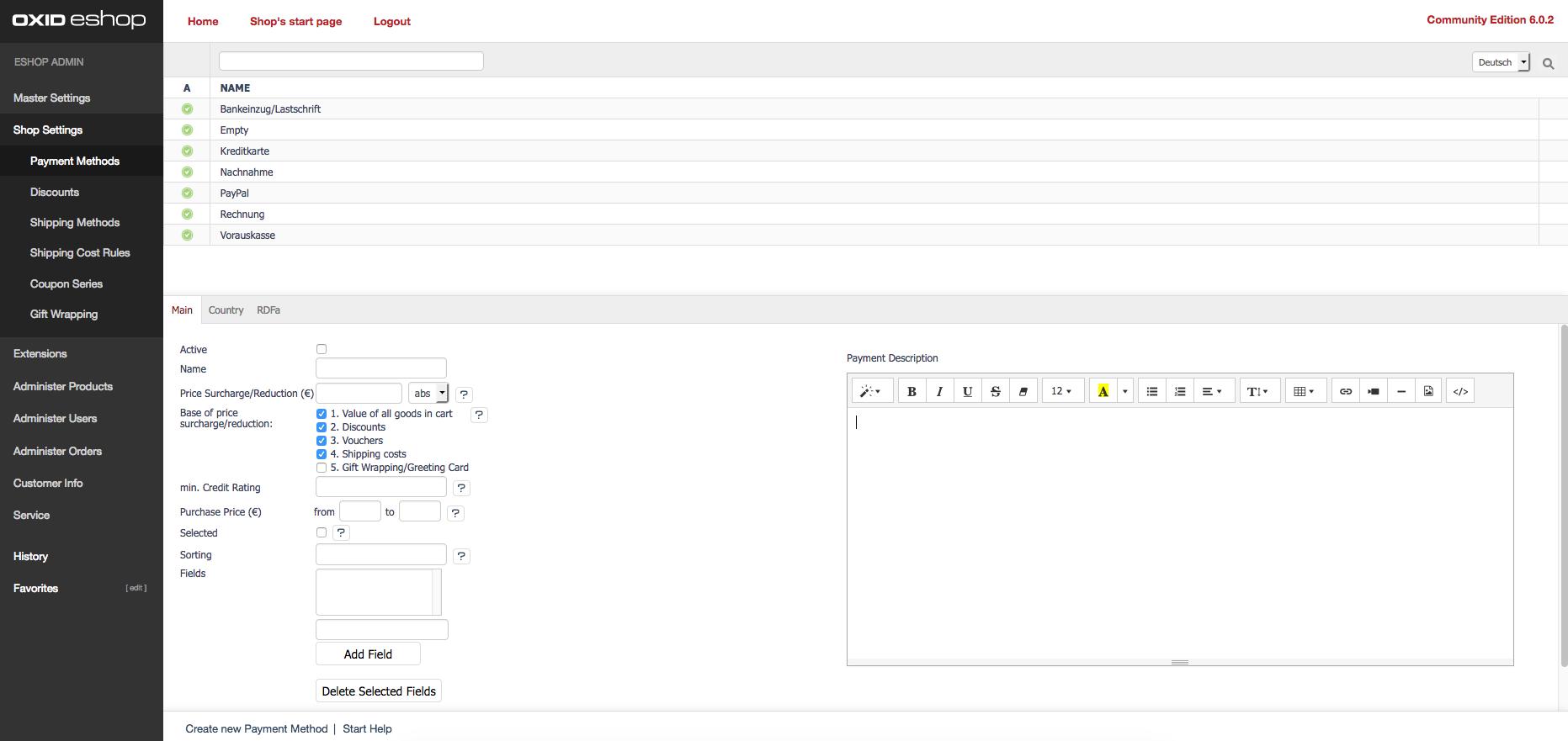 OXID eShop Admin Demo - Payment Methods