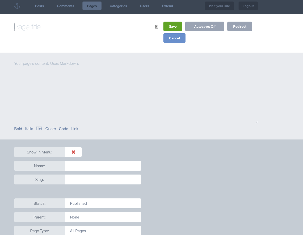 Anchor CMS Admin Demo - Add New Page
