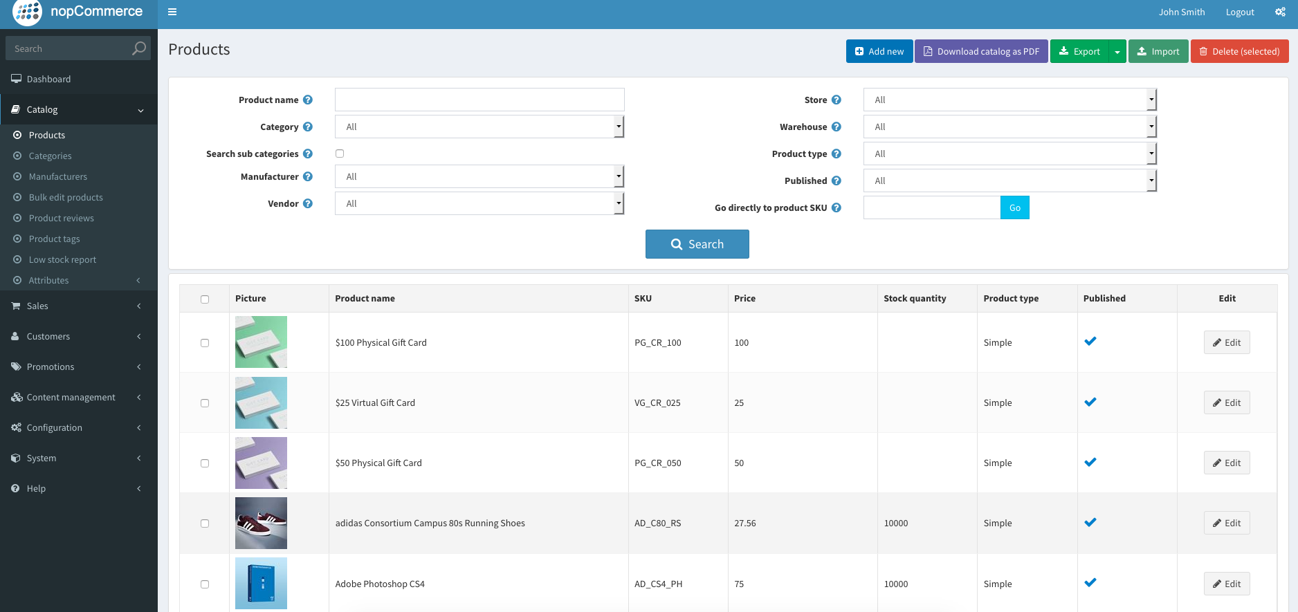 nopCommerce Admin Demo - Products Catalog