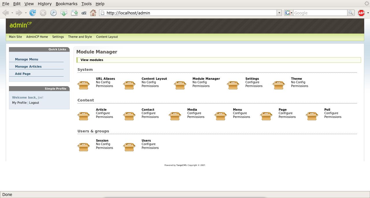 Tango CMS Admin Dashboard
