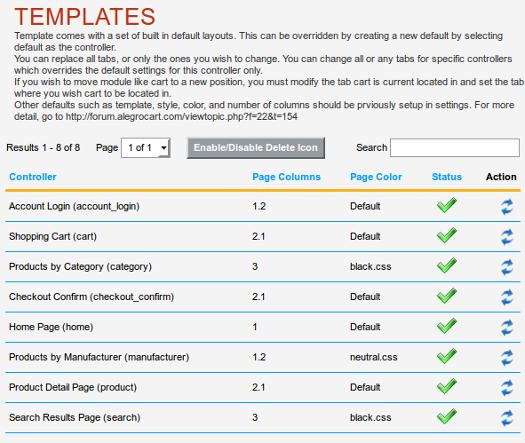 AlegroCart Template Options