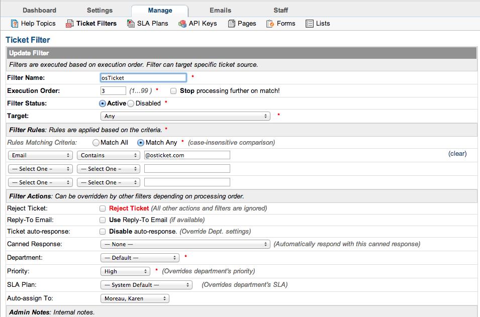 osTicket Admin Demo - Ticket Filters