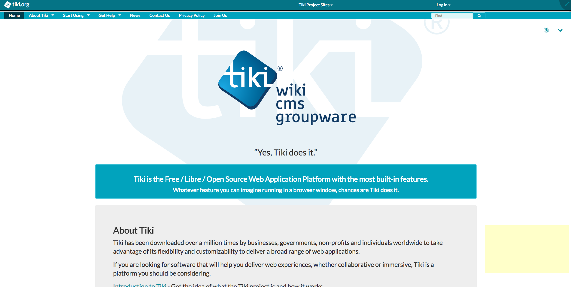 Tiki Wiki CMS Groupware demo preview