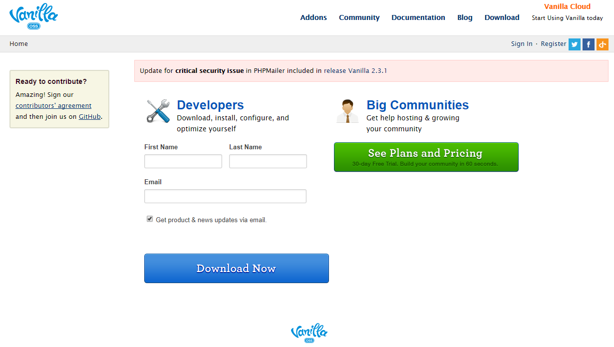Vanilla Forums Demo Site » Try Vanilla Forums without installing it