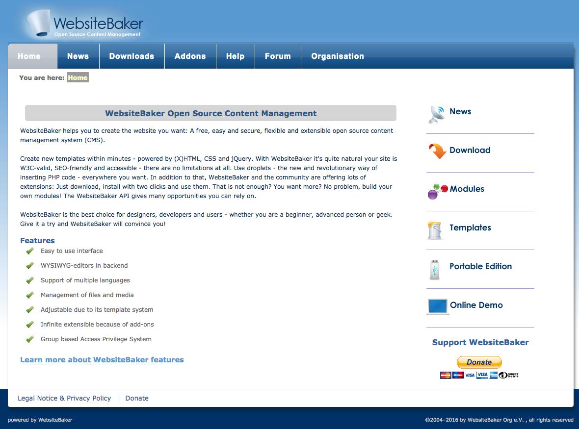 WebsiteBaker demo preview