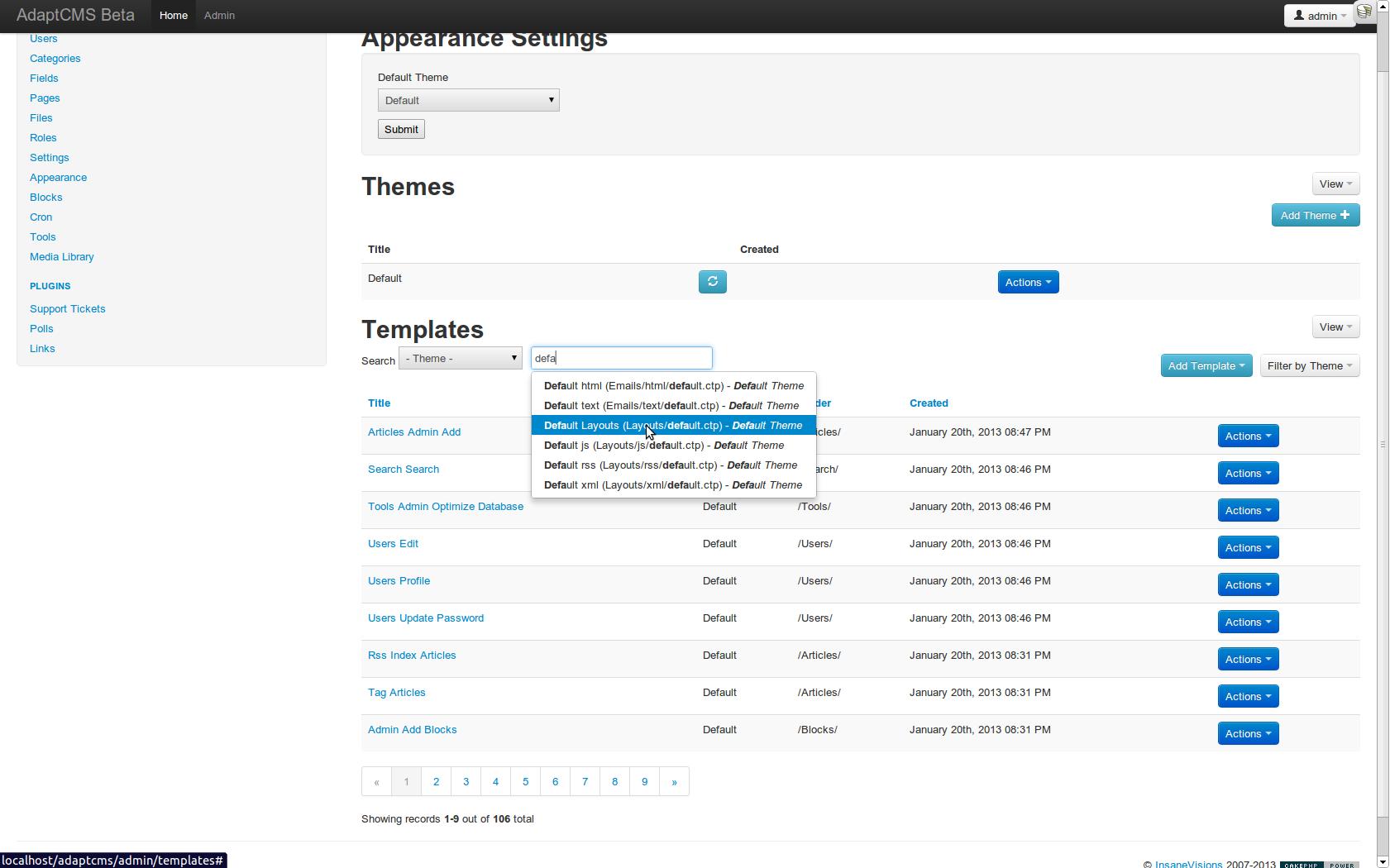 AdaptCMS Alpha - Admin Demo