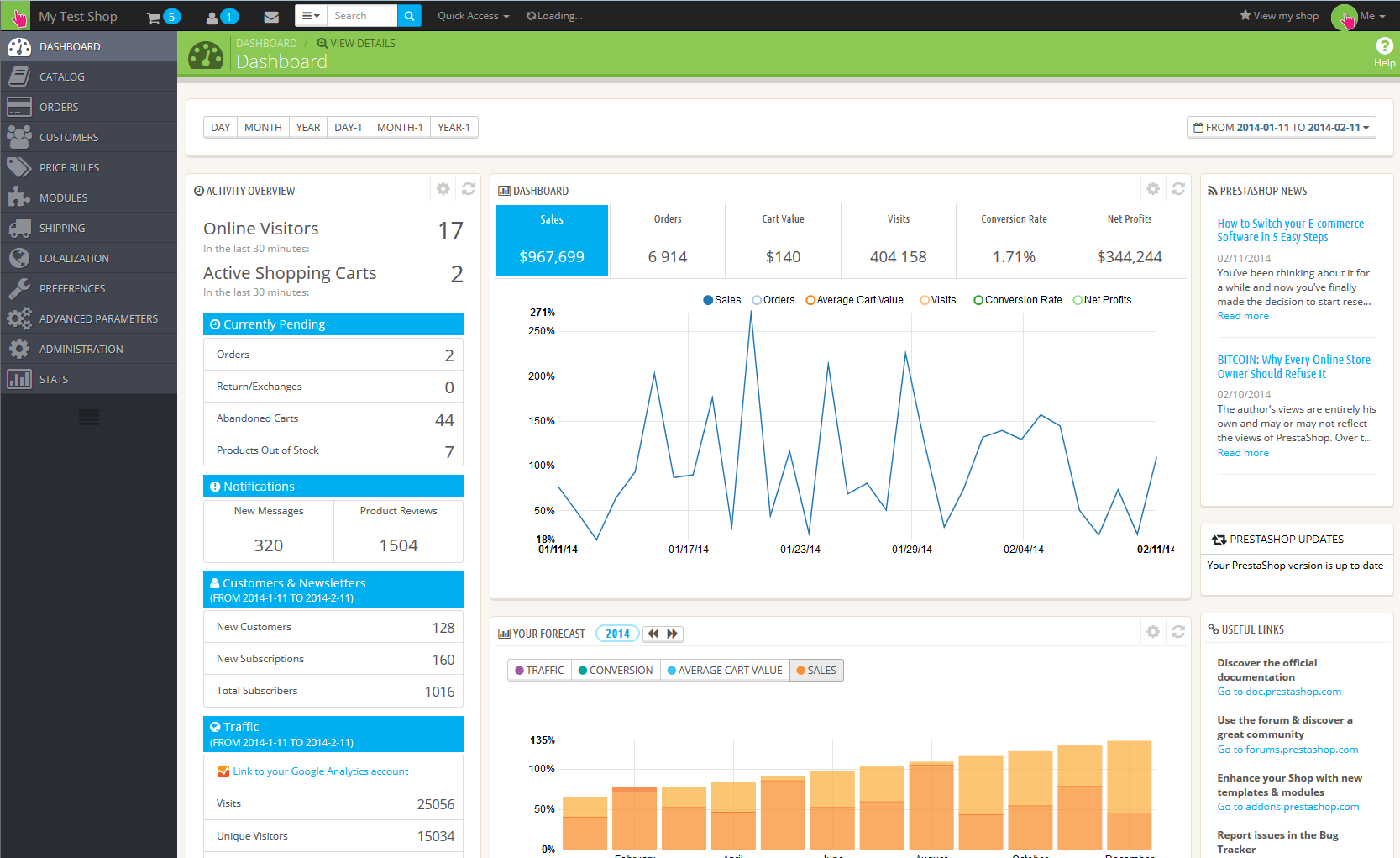 Prestashop 1.6 Admin Dashboard