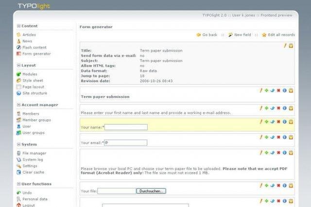TYPOlight CMS Admin Demo